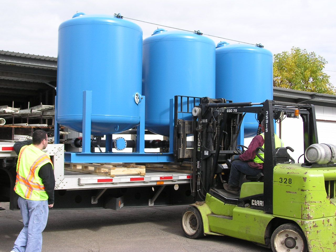 Loading a skid-mounted industrial water softener